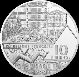 Франция монета 10 евро Поцелуй Родена, аверс
