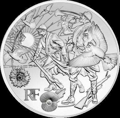 Франция монета 10 евро Договор о перемирии, реверс