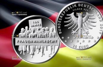 Германия монета 20 евро 100-летие женского избирательного права