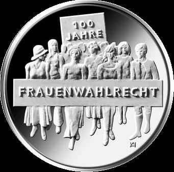 Германия монета 20 евро 100-летие женского избирательного права, реверс