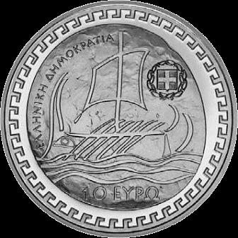 Греция монета 10 евро Геродот, аверс