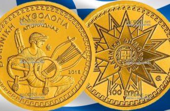Греция монета 100 евро Аполлон