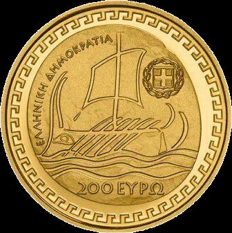 Греция монета 200 евро Геродот, аверс