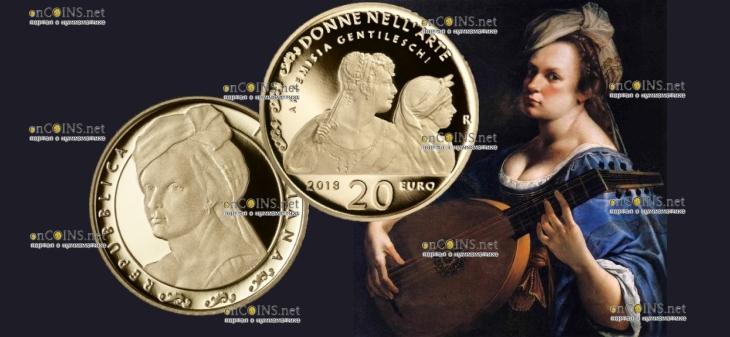 Италия монета 20 евро Артемизия Джентилески