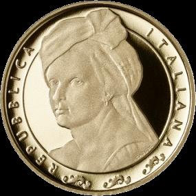 Италия монета 20 евро Артемизия Джентилески, аверс
