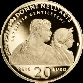 Италия монета 20 евро Артемизия Джентилески, реверс