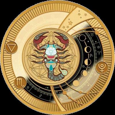 Камерун монета 500 франков КФА Скорпион Знаки Зодиака 2018, реверс