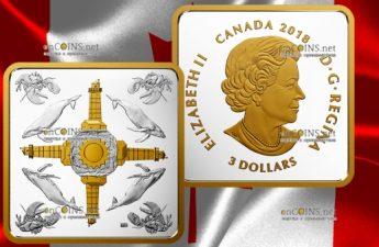 Канада монета 3 доллара Атлантические бухты