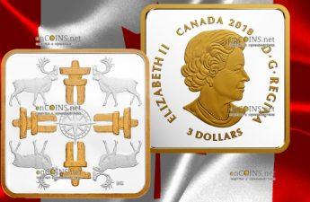 Канада монета 3 доллара Истинный Север