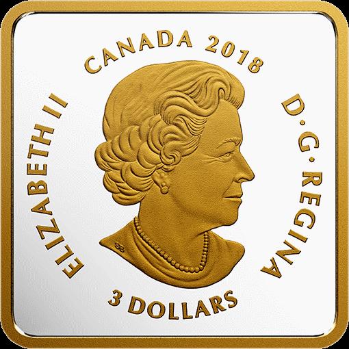 Канада монета 3 доллара серия Наши канадские берега, аверс