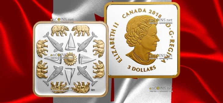 Канада монета 3 доллара Тихоокеанский закат
