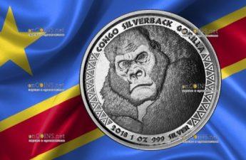 Конго монета 5000 франков КФА Горилла
