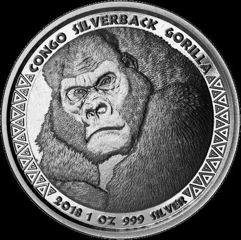 Конго монета 5000 франков КФА Горилла, реверс