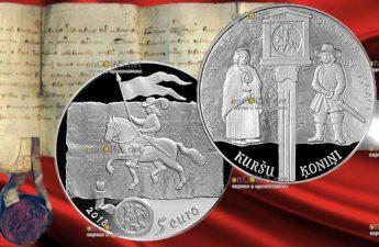 Латвия монета 5 евро Куршские короли