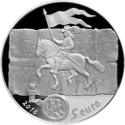 Латвия монета 5 евро Куршские короли, аверс