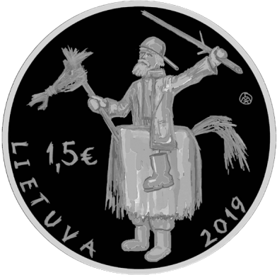 Литва монета 1,5 евро Ужгавенес, аверс