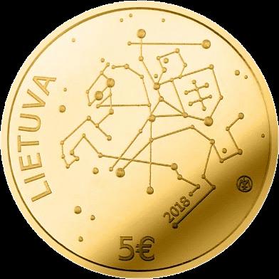 Литва монета 5 евро Технологические науки, аверс