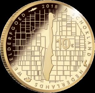 Нидерланды монета 10 евро Схокланд, реверс