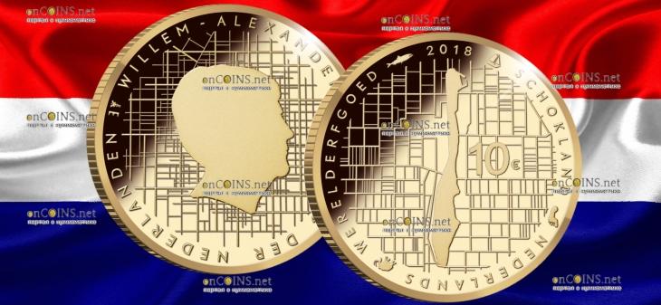 Нидерланды монета 10 евро Схокланд