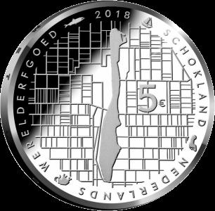 Нидерланды монета 5 евро Схокланд, реверс