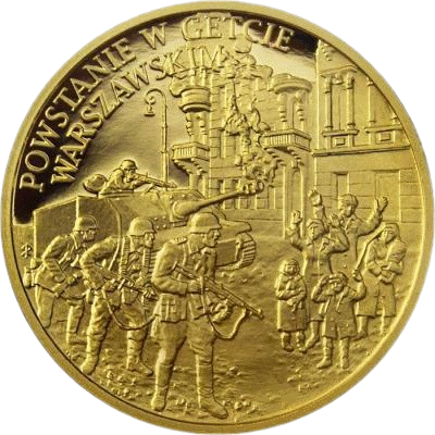 Ниуэ монета 25 долларов Восстание в Варшавском гетто, реверс