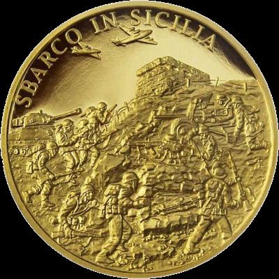 Ниуэ монета 25 долларов Высадка в Сицилии, реверс