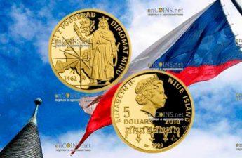 Ниуэ монета 5 долларов Йиржи-Подебрад - Дипломат мира