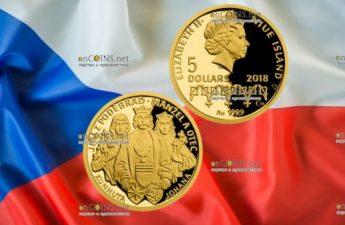Ниуэ монета 5 долларов Йиржи-Подебрад муж и отец