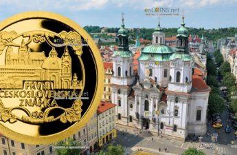 Ниуэ монета 5 долларов Первая почтовая марка Чехословакии
