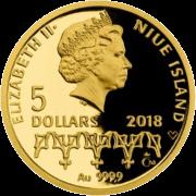 Ниуэ монета 5 долларов серия монет Жизнь Йиржи-Подебрада, 2018, аверс
