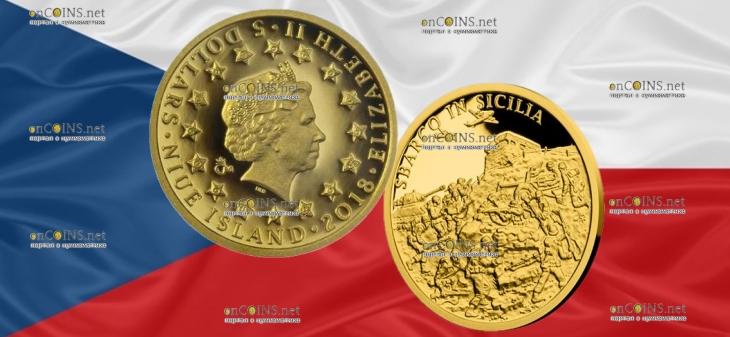 Ниуэ монета 5 долларов Высадка в Сицилии
