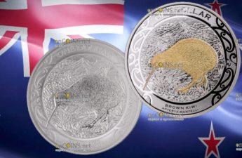 Новая Зеландия монета 1 доллар Коричневый Киви