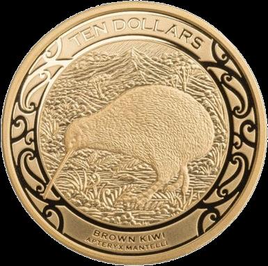 Новая Зеландия монета 10 долларов Коричневый Киви, реверс