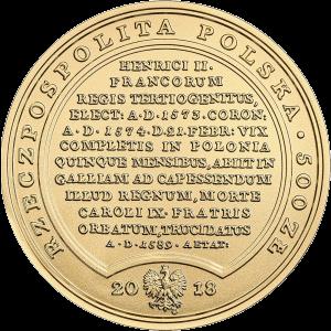 Польша монета 500 злотых Генриха Валуа, аверс