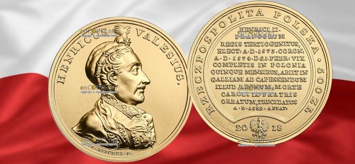Польша монета 500 злотых Генриха Валуа