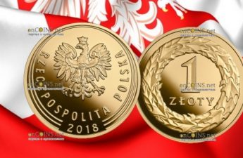 Польша золотая монета 1 злотый 100-летие восстановления независимости Польши