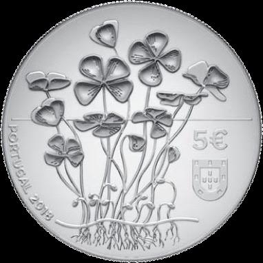 Португалия монета 5 евро Четырехлистный клевер, аверс