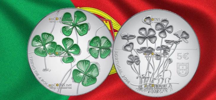 Португалия монета 5 евро Четырехлистный клевер