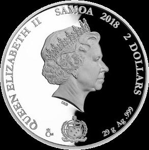 Самоа монета 2 доллара серебро, 2018,, аверс