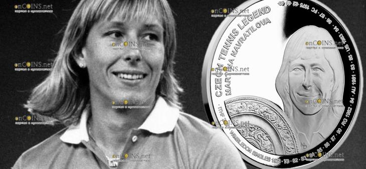 Самоа монета 2 доллара Мартина Навратилова