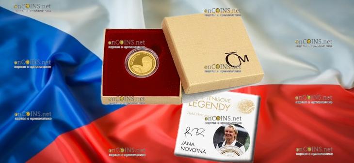 Самоа монета 25 долларов Яна Новотна, подарочная упаковка