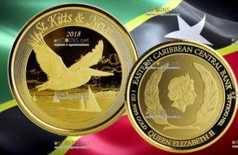 Сент-Китс и Невис монета 10 долларов Коричневый Пеликан
