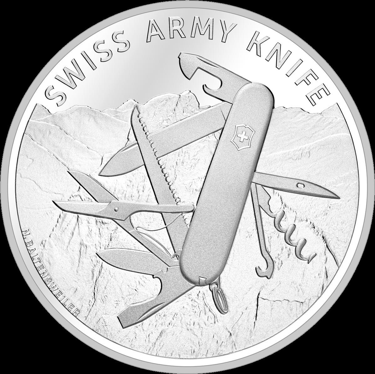 Швейцария монета 20 франков Швейцарский армейский нож, реверс