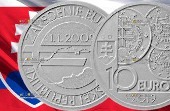 Словакия монета 10 евро 10-летие введения евро в Словакии