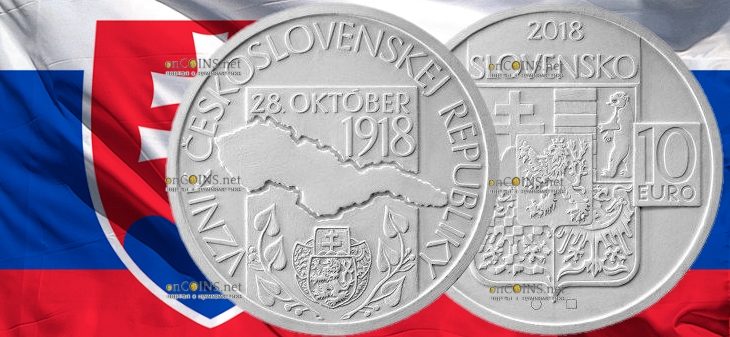 Словакия монета 10 евро 100-летие образования Чехословацкой Республики