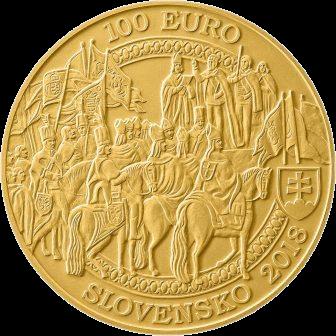 Словакия монета 100 евро 400-летие коронации Фердинанда II, аверс