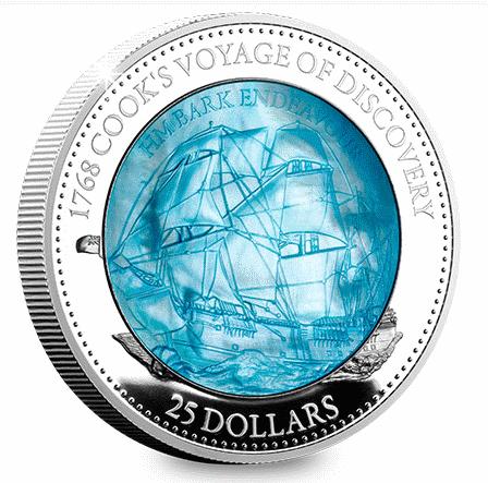 Соломоновы острова монета 25 долларов 1768 Кругосветка Джеймса Кука, реверс