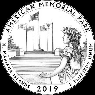 США 25 центов Американский мемориальный парк на острове Сайпан, реверс