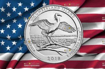 США 25 центов Национальное побережье острова Камберленд