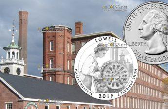 США 25 центов Национальный исторический парк Лоуэлл